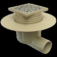 Sifon inox 100x100 mm izolabil cu inaltator si iesire laterala Ø50 mm  pentru pardoseala