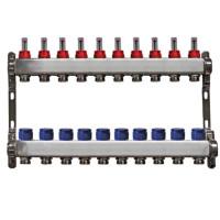 """Distribuitor rectangular din  inox cu debitmetre, 1"""" / 10 circuite pentru incalzirea in pardoseala"""