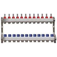 """Distribuitor rectangular din  inox cu debitmetre, 1"""" / 12 circuite pentru incalzirea in pardoseala"""