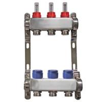"""Distribuitor inox 1"""" / 3 circuite cu debitmetre pentru incalzirea in pardoseala"""