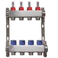 """Distribuitor inox 1"""" / 4 circuite cu debitmetre pentru incalzirea in pardoseala"""