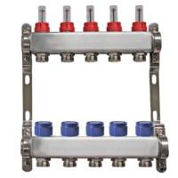 """Distribuitor inox 1"""" / 5 circuite cu debitmetre pentru incalzirea in pardoseala"""
