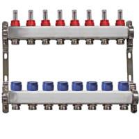 """Distribuitor inox 1"""" / 8 circuite cu debitmetre pentru incalzirea in pardoseala"""