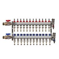 """Distribuitor inox 1"""" / 12 circuite cu debitmetre, robineti cu termometru, kituri golire-aerisire automata si conectori EK-Ø17X2 mm"""
