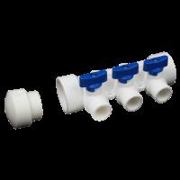 Distribuitor PPR alb cu 3 circuite pentru apa rece