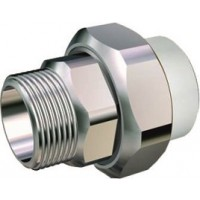 "Racord PPR alb  Ø25 mm cu olandez 3/4"" filet exterior"